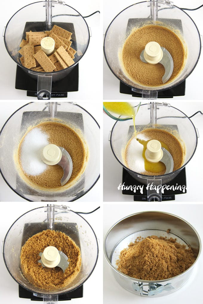 Crush graham crackers using a food processor then blend in sugar and melted butter to make a graham cracker crust.
