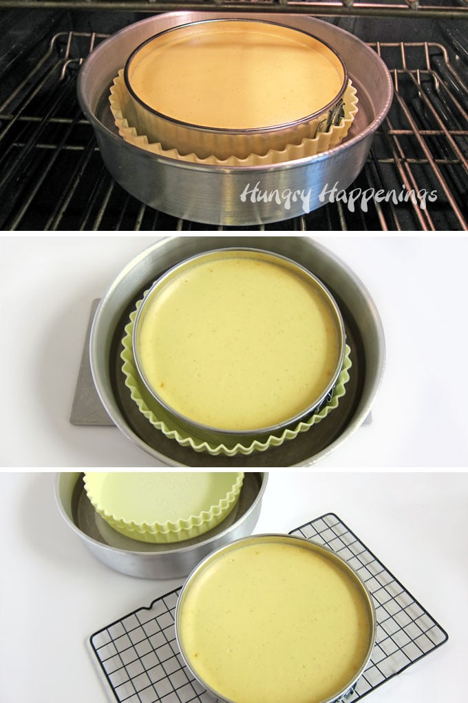 A cheesecake baked in a water bath using an Easy Bath silicone wrapper and a large 12-inch cake pan.