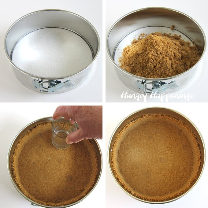 Create a graham cracker crust by pushing the graham cracker crumbs mixed with butter and sugar into the bottom and up the sides of a springform pan.