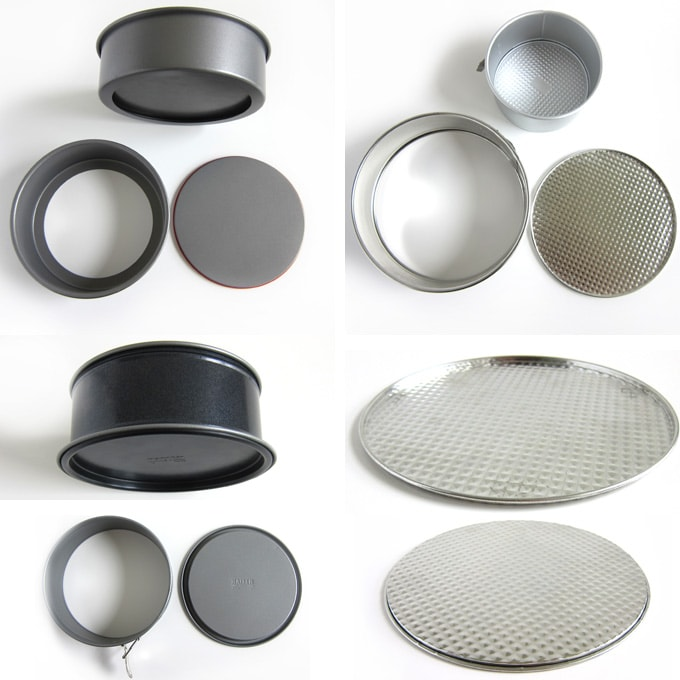 8-inch and 9-inch round Push-Pans, 8-inch leakproof springform pan, and traditional metal springform pan.