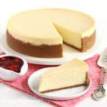 The best cheesecake recipe made with cream cheese, sugar, sour cream, vanilla, and eggs.