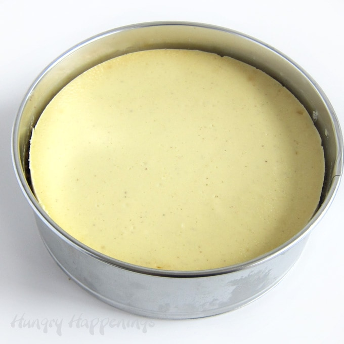 Vanilla cheesecake baked in a springform pan.