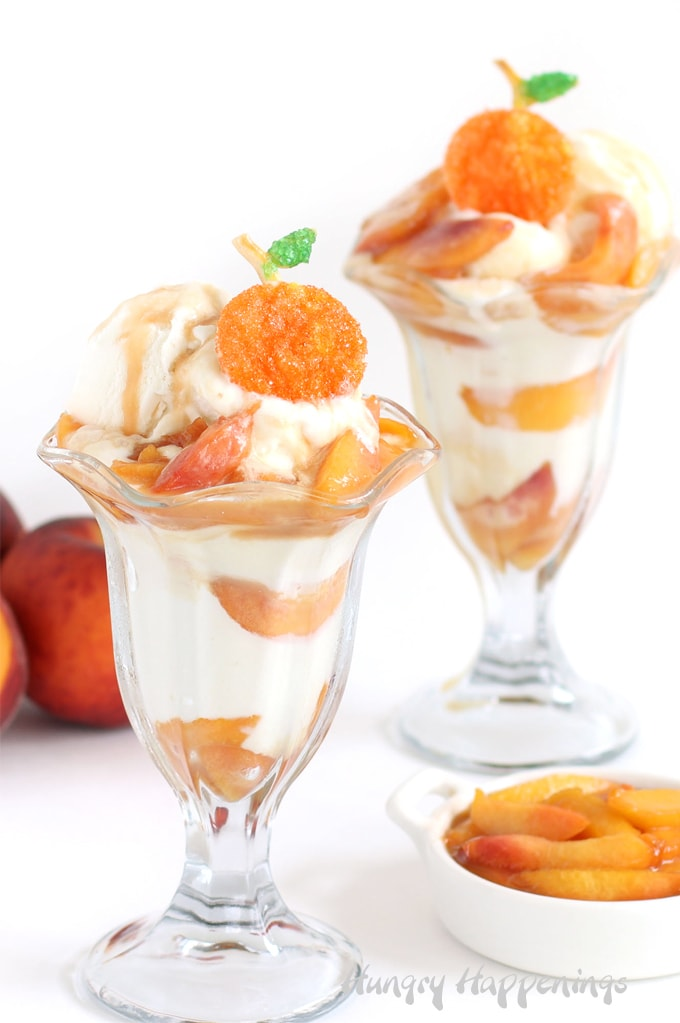 Peach pie ice cream sundaes topped with pie crust peaches.