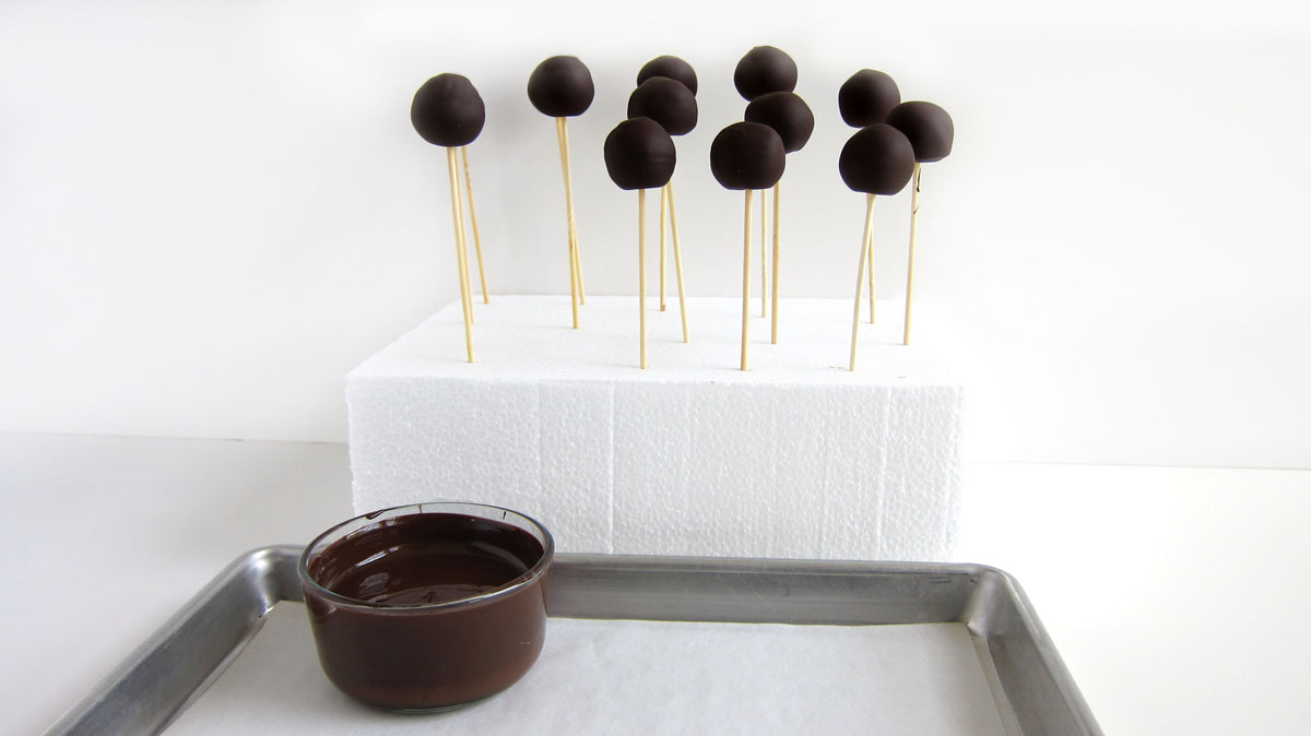 Chocolate-dipped peanut butter balls on skewers stuck into a foam block.
