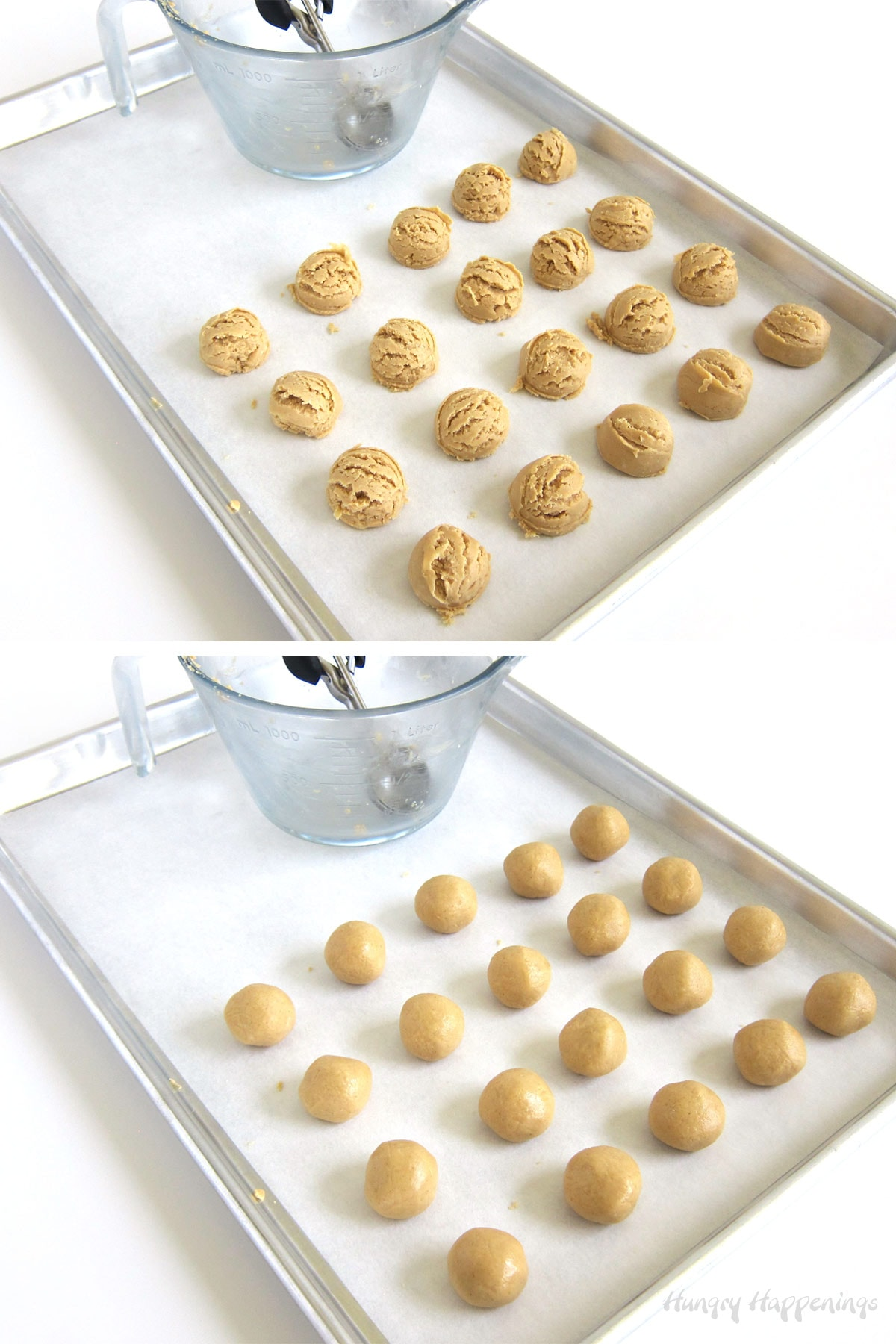 Scoop and roll peanut butter balls.