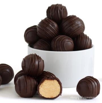 4-ingredient peanut butter fudge balls coated in chocolate