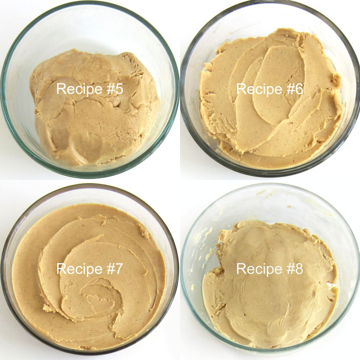 Four bowls of peanut butter fudge used to make peanut butter balls in a taste test.