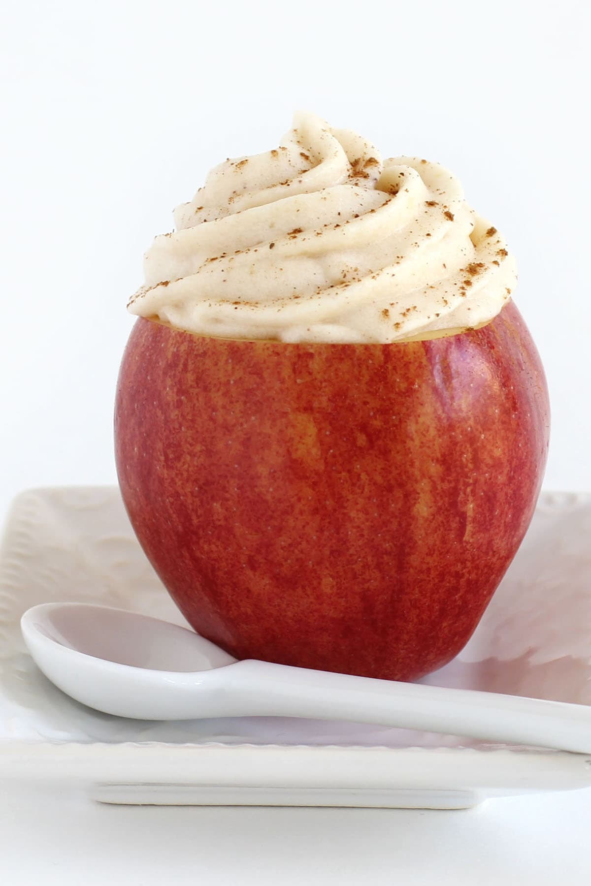 Apple Mousse served in a hollowed-out apple.