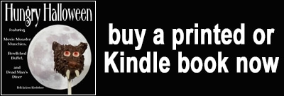 button to buy a printed or Kindle copy of Hungry Halloween cookbook