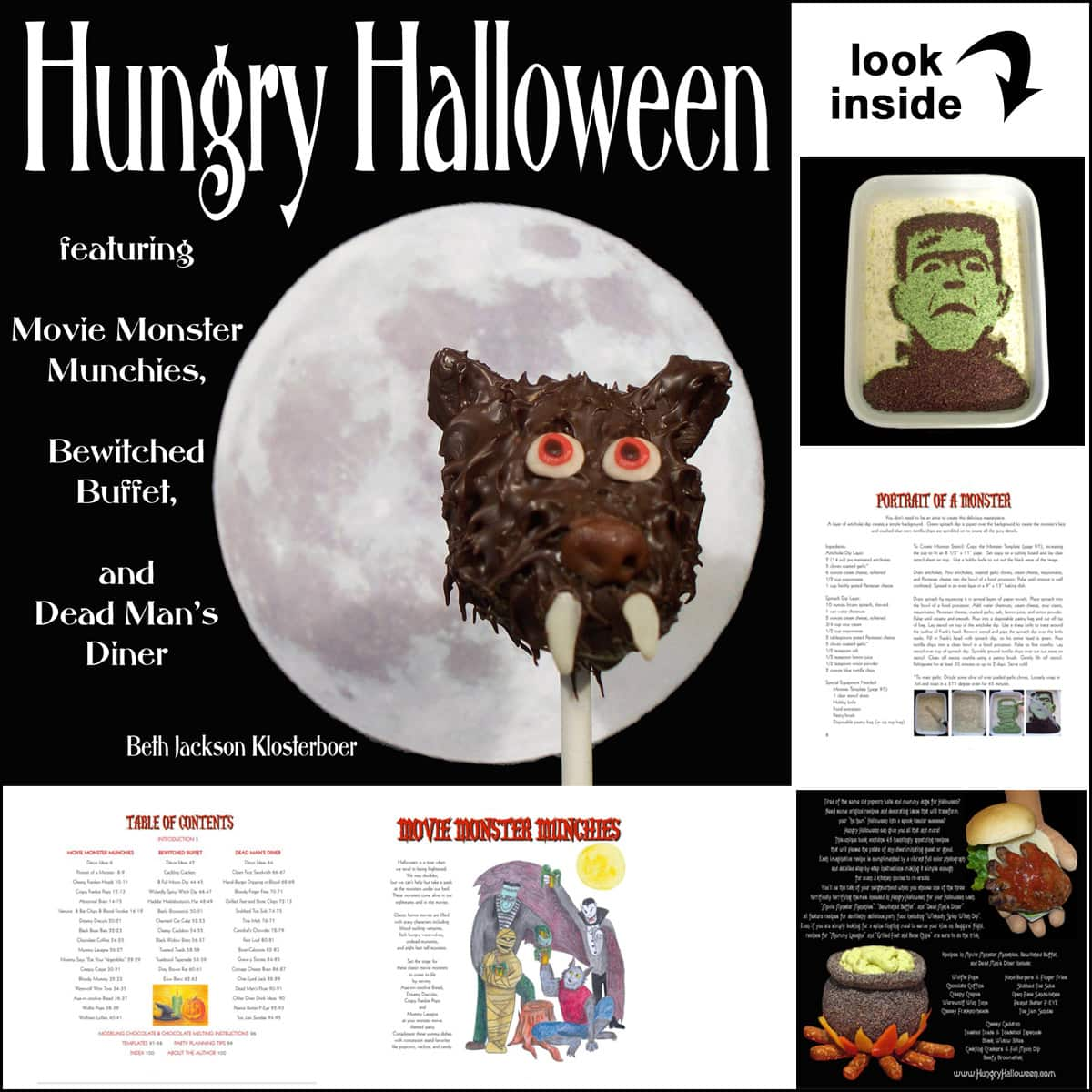 Hungry Halloween cookbook featuring werewolf cake pops, cheese ball cauldron, Frankenstein dip, and more.