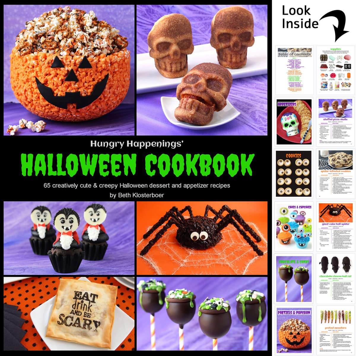 Hungry Happenings' Halloween Cookbook cover featuring a popcorn pumpkin bowl, pizza skulls, vampire cupcakes, a spider cake, stamped wontons, and cake ball cauldrons.