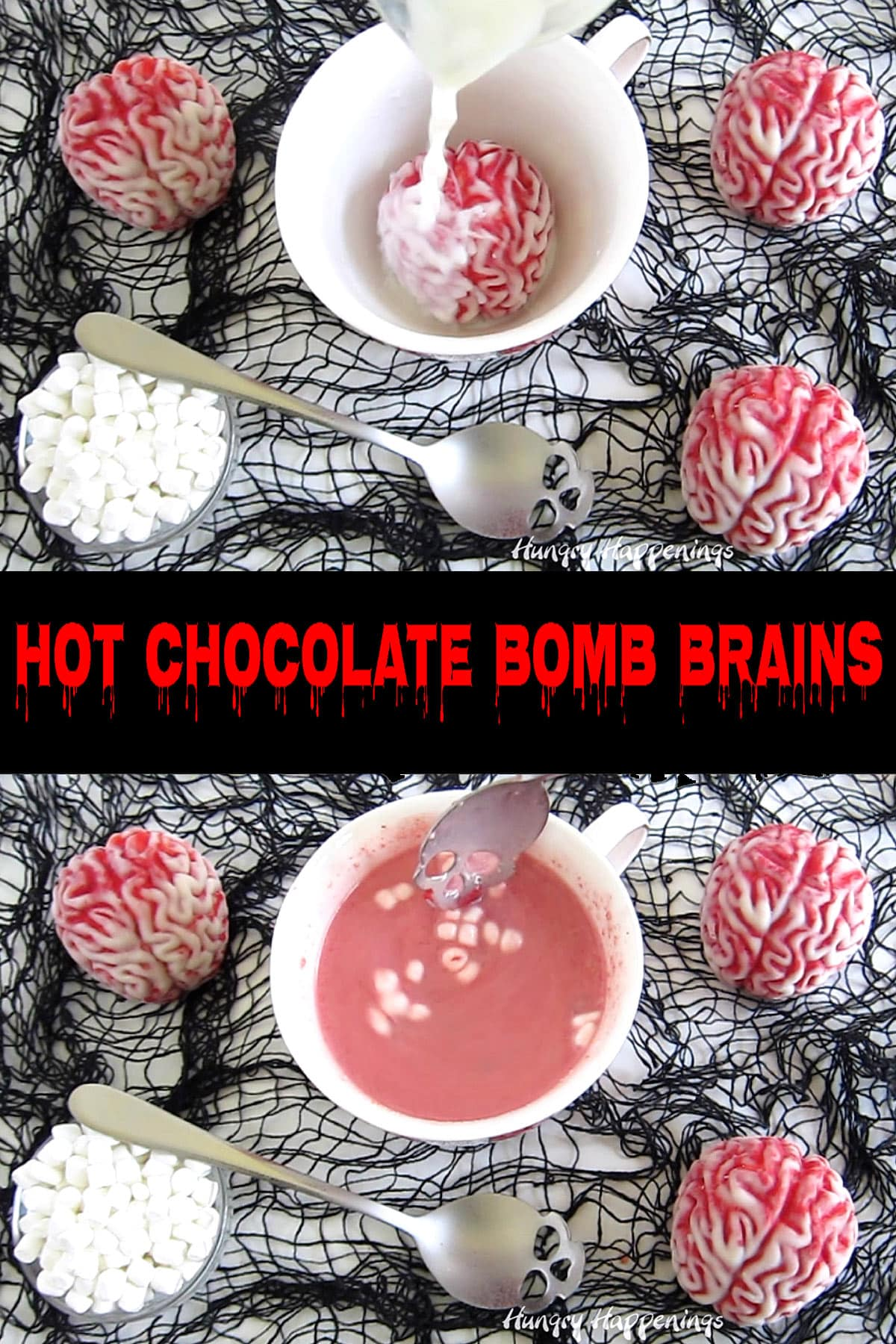 Halloween hot cocoa bomb brains filled with strawberry hot chocolate mix melting into a mug of hot milk.