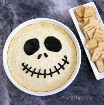 Halloween appetizer - Jack Skellington Chicken Dip