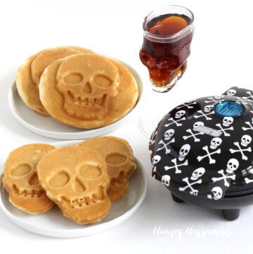 Mini skull-shaped waffles made in a mini skull waffle maker